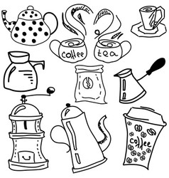 Drawn picture with coffee and tea stuff vector