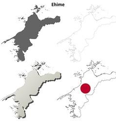 Ehime blank outline map set vector