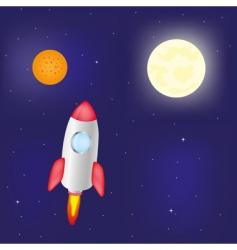 Fantastic rocket flies in cosmos vector