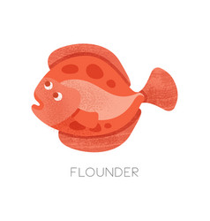 Flat icon of bright red flounder with vector