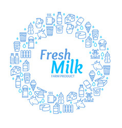fresh milk dairy signs round design template thin vector image