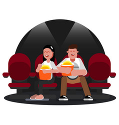 friends watching movie vector image