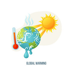Global warming earth with sunshine and thermometer vector