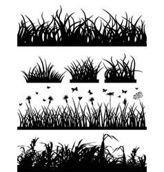 grass silhouette set vector image