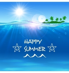 Happy Summer poster Ocean waves with island vector