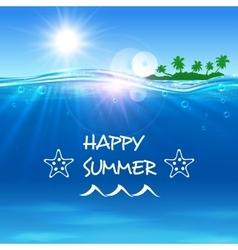 Happy summer poster ocean waves with island vector