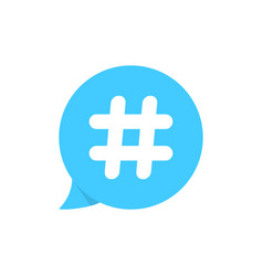 hashtag on blue speech bubble vector image
