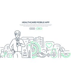 healthcare mobile app - modern line design style vector image