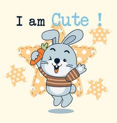 i am cute rabbit vector image
