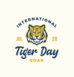 international tiger day celebration emblem mascot vector image
