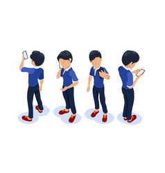isometric character with a phone in his hands vector image