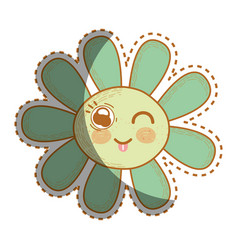 Kawaii funny flower with tongue outside vector