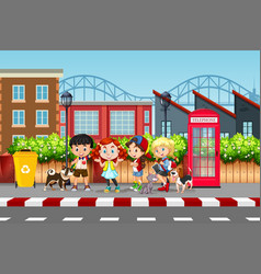 Kids and pets street scene vector
