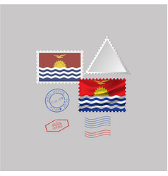 Kiribati flag postage stamp set isolated on gray vector
