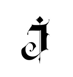 Letter j in gothic style alphabet the symbol vector