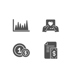 Line graph usd coins and love mail icons payment vector