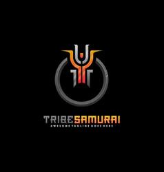 logo tribe samurai export style vector image