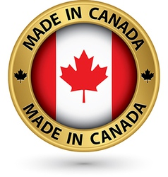 Made in Canada gold label vector image