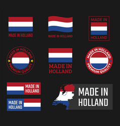 Made in netherlands labels set holland product vector