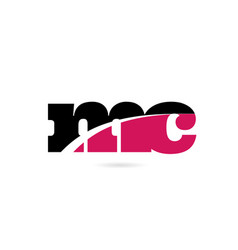 Mc m c pink and black alphabet letter combination vector