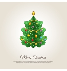 Merry Christmas Banner with Decorated Xmas Tree vector image