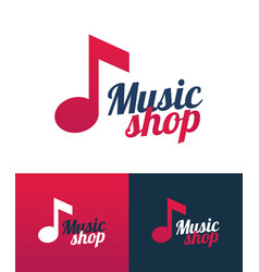 music shop logo icon with music note vector image
