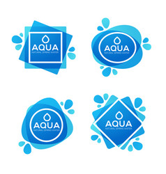 Natural spring water logo labels and stickers vector
