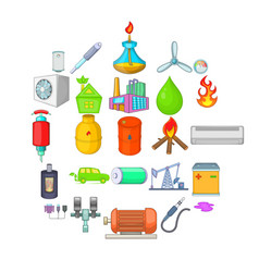 nonrenewable energy icons set cartoon style vector image
