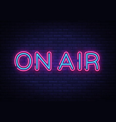 On air neon sign on air radio design vector