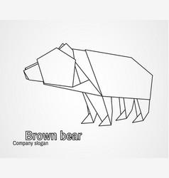 origami logo contour bear vector image