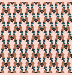 pattern mittens warm heart winter gloves vector image