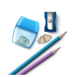 Pencils and sharpeners vector