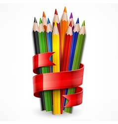 Pencils tied with ribbon on vector image