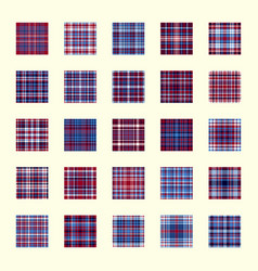 plaid texture set geometric seamless pattern blue vector image