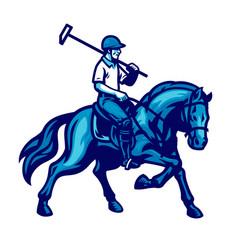 Polo player riding horse vector