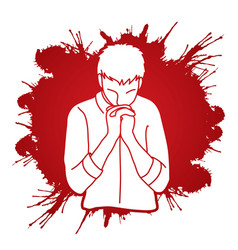 Praise god prayer christian praying vector