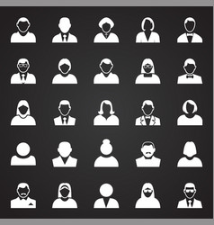 profile icons set on black background for graphic vector image