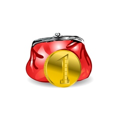 purse and coin vector image