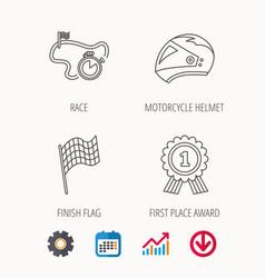 Race flag motorcycle helmet and award medal vector