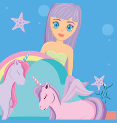 Rainbow and unicorns design vector