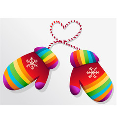 Rainbow winter gloves vector