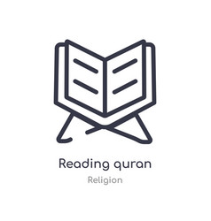 Reading quran outline icon isolated line from vector