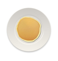 Realistic pancake on a white plate closeup vector
