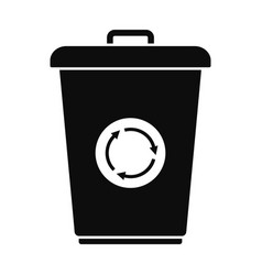 Recycling bin icon simple style vector