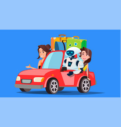 robot and people travelling by car with suitcases vector image