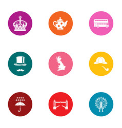 Royal family icons set flat style vector