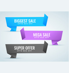 sale banners set in origami style vector image