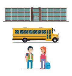 School bus and schoolchild flat vector