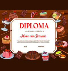 school education diploma template desserts vector image