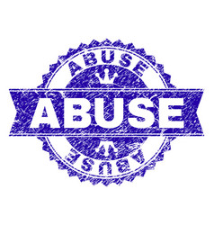 Scratched textured abuse stamp seal with ribbon vector